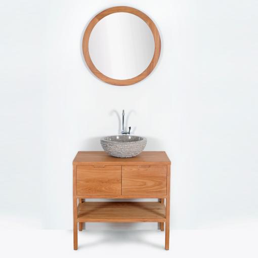 Mueble de ba o montado lavabo simple 80cm sveg de madera maciza las mejores ofertas de carrefour - Muebles bano madera maciza ...