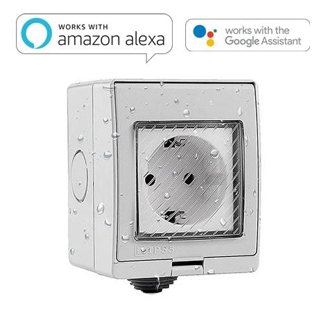 Toma Wifi Estanca De Superficie Ip55. Compatible Con Amazon Alexa Y Google Home
