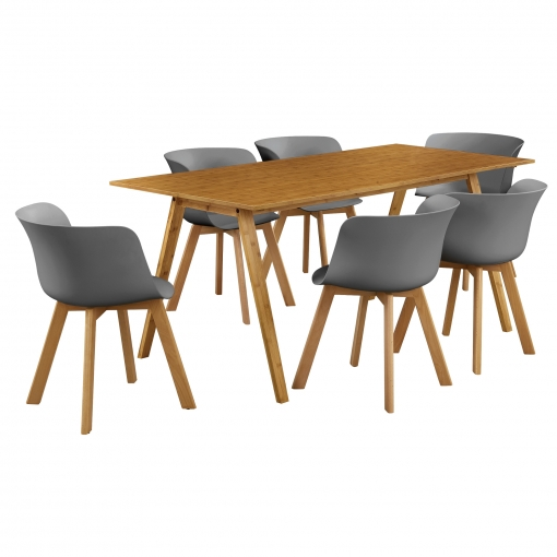 [en.casa] Mesa De Comedor Con 6 Sillas Bambú/gris 180x80 Mesa De Cocina  Conjunto De Comedor
