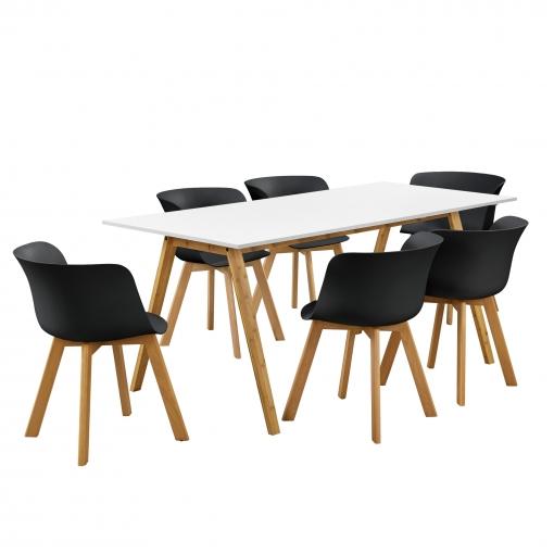[en.casa] Mesa De Comedor Con 6 Sillas Blanco/negro 180x80 Mesa De Cocina  Conjunto De Comedor