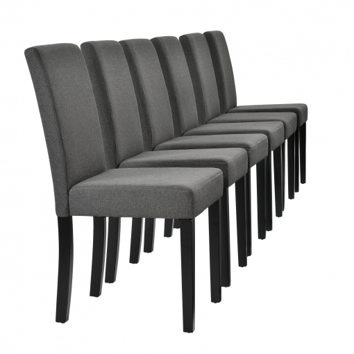 [en.casa] Set De 6 Sillas De Comedor Tapizadas De Tela Gris - 90 X 42cm  Sillas De Diseño