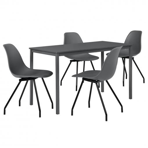 [en.casa]® Set De Mesa De Comedor Diseño [120cm X 60cm X 75cm] Gris Oscuro  - 4 X Sillas - Gris Oscuro
