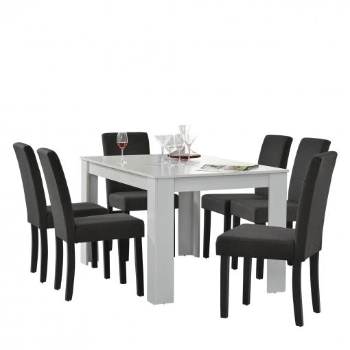 mesa comedor blanca con sillas