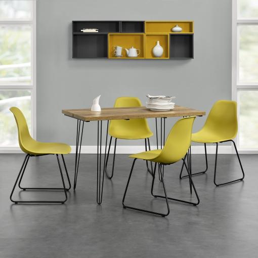[en.casa]® Mesa De Comedor - Apariencia De Madera + Set De 4 X Sillas - Mostaza - Diseño - 82 X 46,5 X 56 Cm