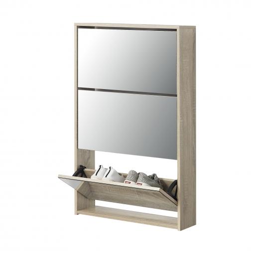 [en.casa]® Zapatero Con Espejo - 102 X 63 X 17 Cm - Mueble Zapatero - Organizador De Zapatos - Roble