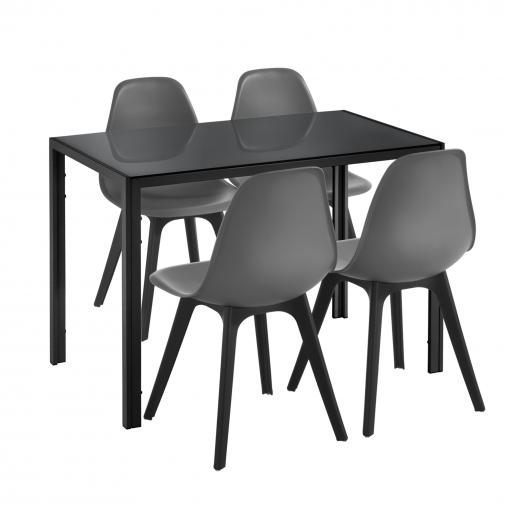 [en.casa]® Mesa De Comedor Minimalista - Negro - 105cm X 60cm X 75cm - Para  4 Personas - Set De 4 X Sillas De Diseño - 83cm X 54cm X 48cm - Gris - ...