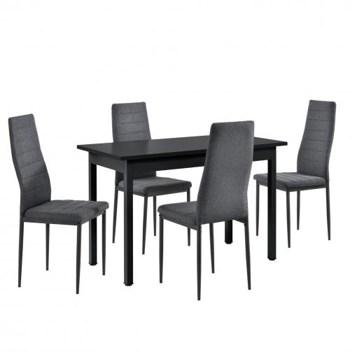 [en.casa]® Mesa De Comedor Minimalista - 120cm X 60cm X 75cm - Negro - Para  4 Personas - Set De 4 X Sillas De Diseño - Tapizado De Tela - 96 X 43 X 52  ...