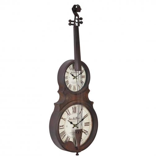 e01441352aa5  en.casa ® Reloj De Pared Diseño Instrumento De Cuerda Con Pantalla  Analógica