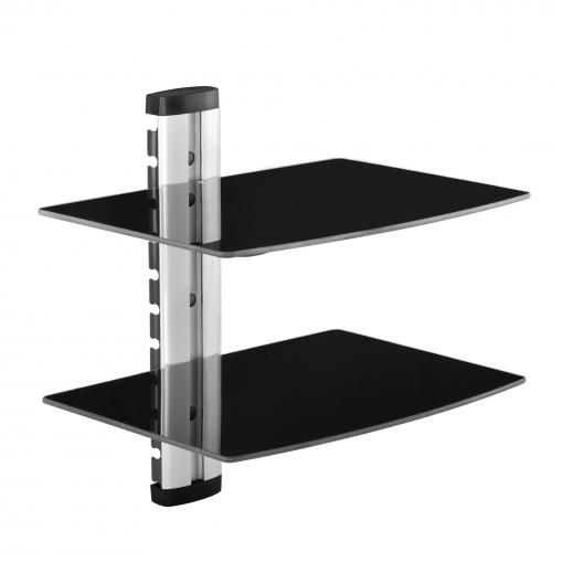 Estantes Para Pared.En Casa Soporte De Pared Para Reproductores De Dvd Y Receptores Con 2 Estantes De Vidrio 45 X 42 X 30cm Acero Negro