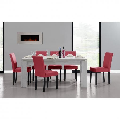 [en.casa] Set De Comedor Mesa \'helsinki\' (blanca - 170 X 79 Cm) 6 Sillas  (tapizadas - Granate) - Set Ahorro