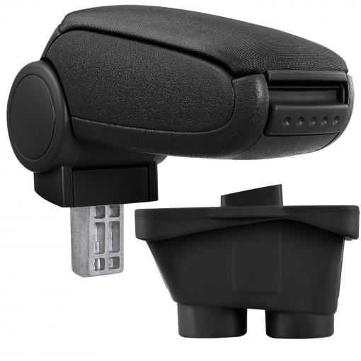 [pro.tec]® Reposabrazos Central Para Peugeot 208 (a Partir De 2012, 3 Y 5 Puertas) - Apoyabrazos Con Compartimento - Tapizado - Tela - Negro
