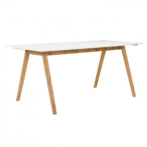 [en.casa]® Mesa De Comedor Bambú Tablero Lacado Blanco 180x80cm Mesa De  Cocina Rectangular Madera