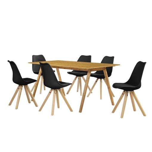 [en.casa]® Set De Comedor Mesa Bambú 180x80 + 6 Sillas Negras Tapizadas Piel Sintética