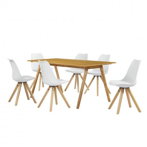 [en.casa]® Set De Comedor Mesa Bambú 180x80 + 6 Sillas Blancas Tapizadas Piel Sintética