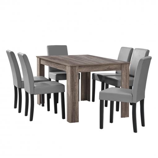 [en.casa] Mesa De Comedor Diseño - Set De Sillas Con Estilo Elegante - Gris  Claro