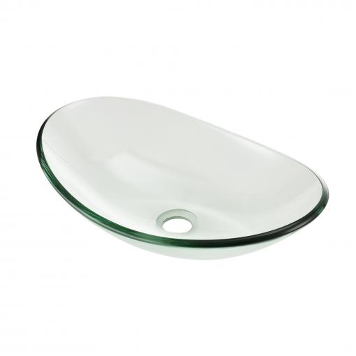 [neu.haus] Lavabo Lujoso En Forma Redonda - (47x30,5cm) - Lavabo Sobre Encimera - Cristal De Seguridad - Transparente