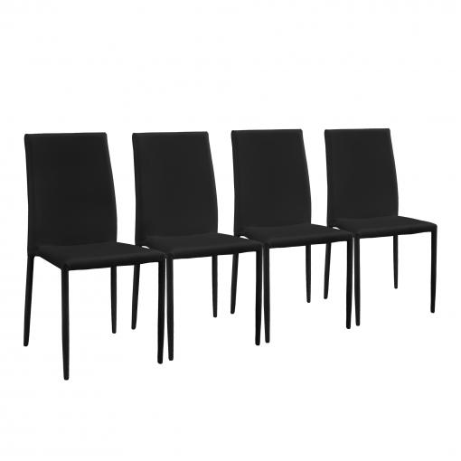en.casa]® Set De 4 Sillas De Comedor (negro) Tapizadas Con Cuero ...