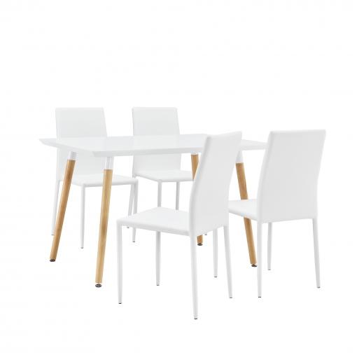 en.casa] Mesa Con 4 Sillas - Blanco - 120x70cm - Mesa De Cocina ...