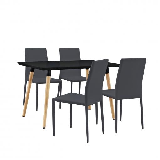 [en.casa] Mesa Negra Con 4 Sillas Gris Oscuro120x70cm - Mesa De Cocina -  Mesa De Comedor