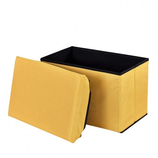 [en.casa] Taburete Para Almacenaje Plegable - Arcón Tapizado De Tela (48x32cm) - Asiento - Mostaza
