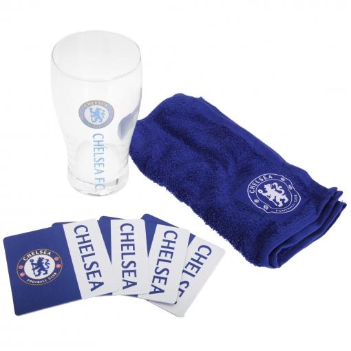 Chelsea Fc Official - Set De Mini Bar Temática Fútbol (vaso De Cerveza, Paño Y Posavasos) (talla Única) (azul/blanco)