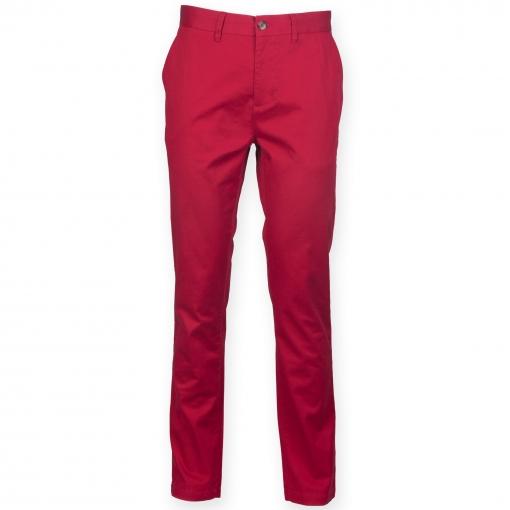 Front Row - Pantalones Chinos Elásticos Ricos En Algodón Para Hombre (102cm - R) (rojo Retro)