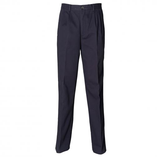 Henbury - Pantalones Chinos Con Pliegues Para Trabajar Con Recubrimiento Resistente A Las Manchas De Teflon® Hombre Caballero (cintura 81cm X Long) (azul Marino)