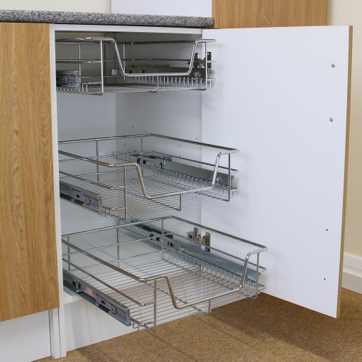 Cestos De Cocina Extraíbles Para Muebles De 50cm Acero Inoxidable 4 Unidades