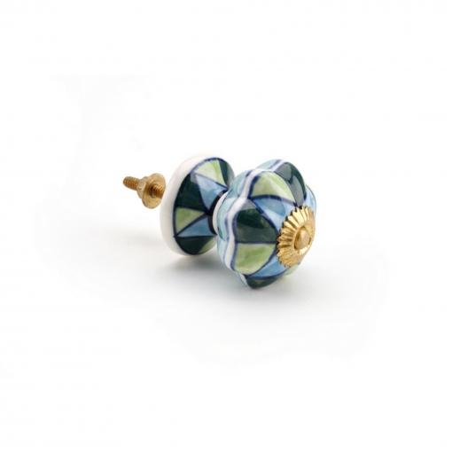 Cgb Giftware - Pomo De Cerámica Con Diseño De Diamantes En Azul Y Verde Para Armarios O Cajones