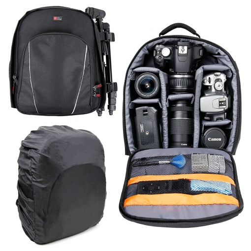 Boutique en ligne 8fc93 00fff Duragadget Mochila Resistente Al Agua + Funda Impermeable Para Cámaras Dslr  / Slr , Nikon D3400 , D5300 , D5600 , D750 / Canon Eos 1300d , Eos 750d ,  ...