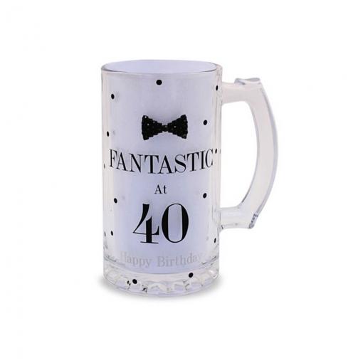 Lesser Pavey - Vaso De Cerveza Diseño De Lunares Y Pajarita Celebración Cumpleaños Para Regalo (one Size) (fantastic At 40)