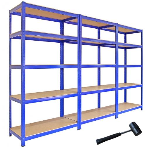 Estantes Metalicas.Estanterias Metalicas Acero Inoxidable Sin Tornillos 5 Estantes Azules T Rax