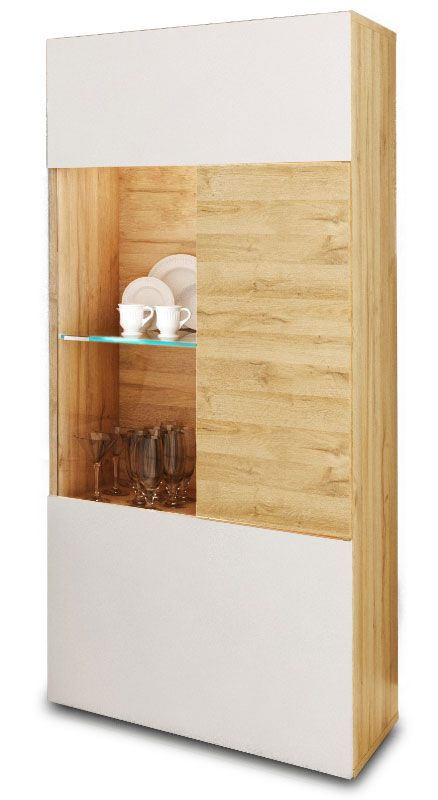 Vitrina Baja Ada Salón Moderno Color Blanco Y Nogal Mueble Comedor 1 Puerta  52x34x127