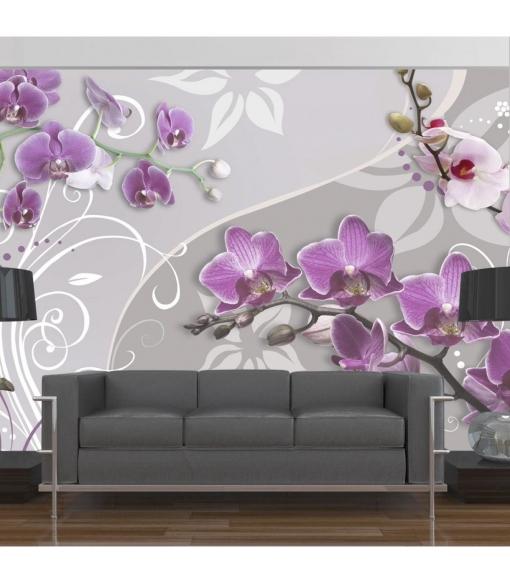 Fotomural - Vuelo De Orquídeas Púrpura , Tamaño - 150x105