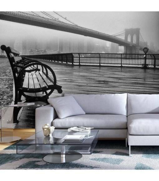 Fotomural - A Foggy Day On The Brooklyn Bridge , Tama�o - 200x140