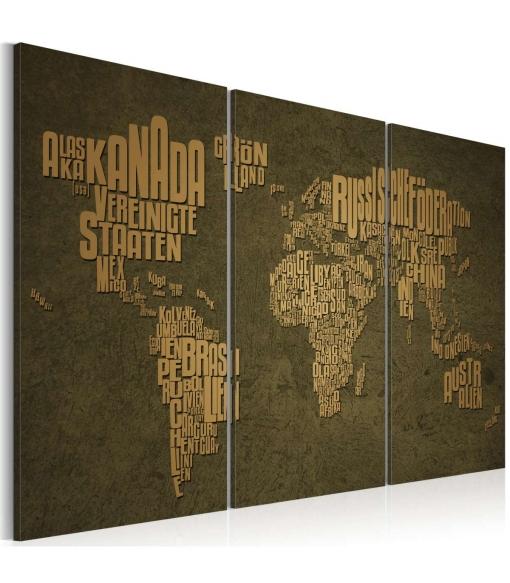 Cuadro - El Mapa Del Mundo El Alem�n: Continentes Beige- Tr�ptico , Tama�o - 120x80