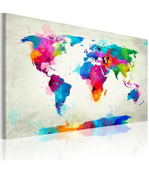 Cuadro - Map Of The World - An Explosion Of Colors , Tama�o - 90x60