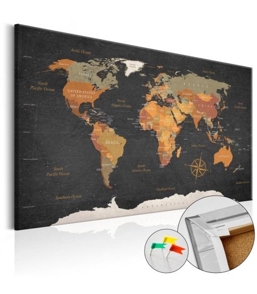 Tablero De Corcho - Secrets Of The Earth [cork Map] , Tama�o - 90x60