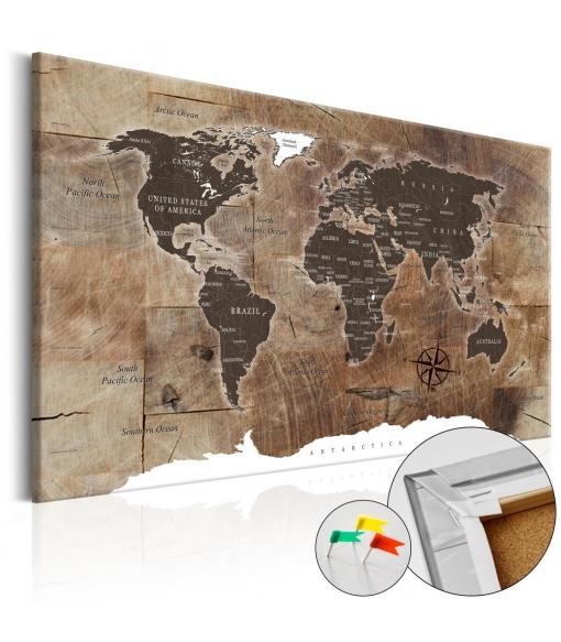 Tablero De Corcho - Wooden Mosaic [cork Map] , Tama�o - 60x40