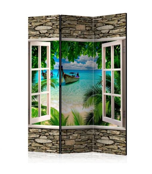 Biombo - Tropical Beach [room Dividers] , Tama�o - 135x172