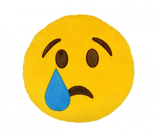 foto de 557317a Cojín Emoticon Cara Con Lagrima Color Amarillo Ø 34 Cm Emoticono con Ofertas en