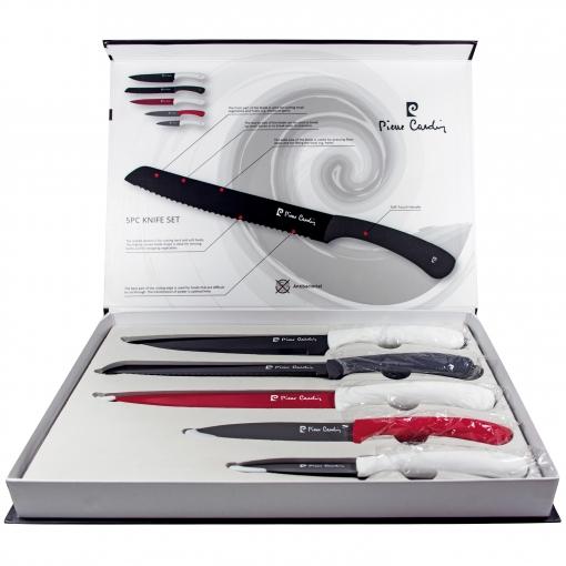 Set De 5 Cuchillos - Multicolor Negros/rojos/blancos Pierre Cardin