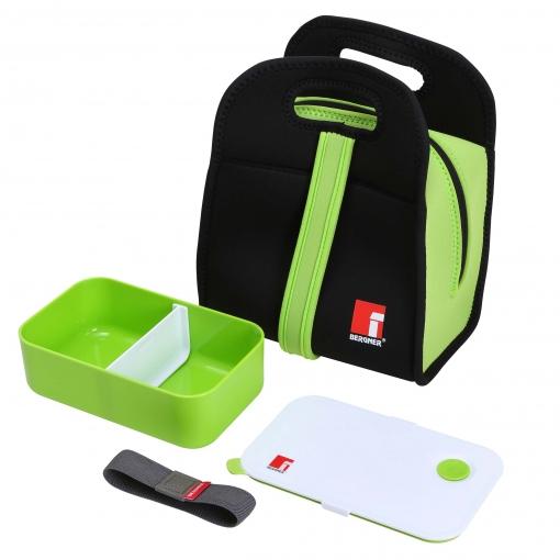 Set Bento Box 1000ml +bolsa Isotermica Neopreno Negro/verde Walking Business Acero Inoxidable