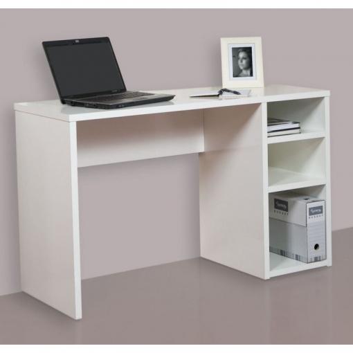 Mesa escritorio mesa estudio con 3 estantes color blanco for Mesa escritorio carrefour