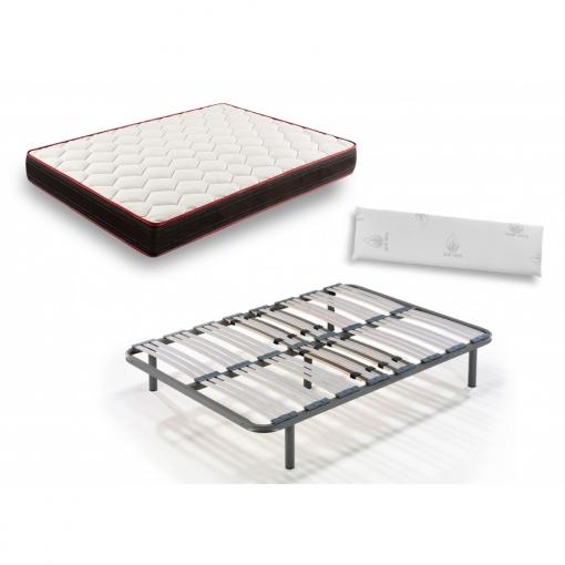 Colchón Viscoelástico Memory Fresh 3d+somier Multiláminas Patas 32cm+almohada Viscoelástica-140x180