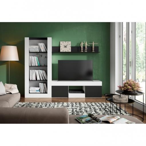 Mueble Tv Salón /comedor/biblioteca Moderno Acabado Blanco Y Negro ...