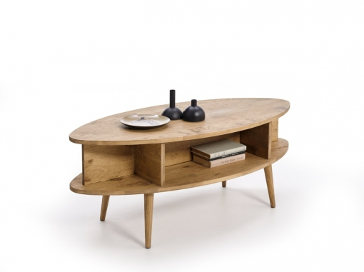 Hogar24- Mesa Centro Diseño Vintage Ovalada Con Estantes, Acabado Madera Natural Encerado. Medidas: Ancho: 120 Cm X Fondo: 55 Cm X Alto: 49 Cm.