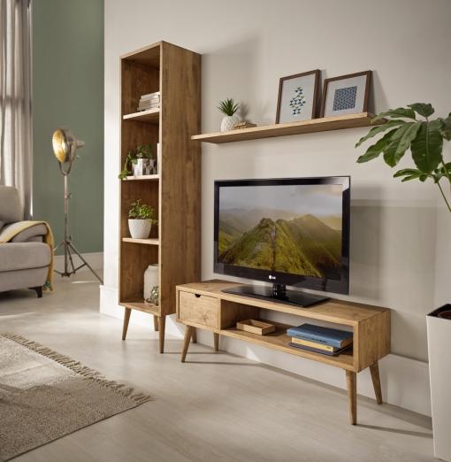 Hogar24-mueble Salón-comedor Diseño Vintage Madera Maciza Natural Acabado  Encerado.