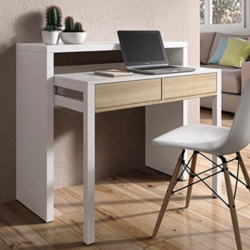 Mesa consola escritorio extensible blanco brillo y roble - Mesa estudio carrefour ...