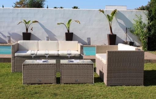 Conjunto Los Ángeles 6 Plazas Color Beige, Muebles De Jardin Y Exterior – Kiefergarden